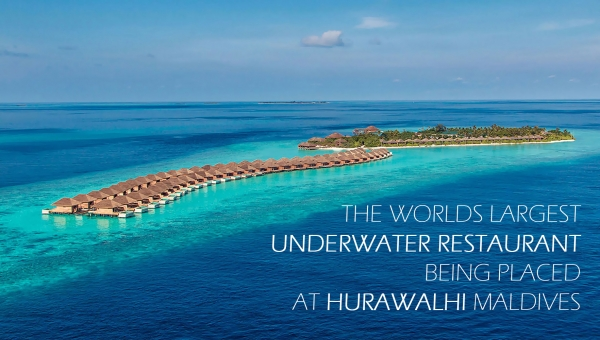 The worlds largest underwater restaurant being placed at Hurawalhi Maldives