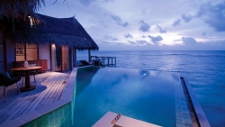 Water Villa with Pool Sunset