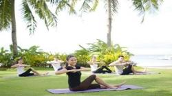 Yoga at sunrise and sunset
